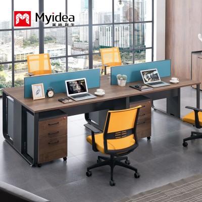 职员办公桌椅四人位台式电脑桌椅简约现代屏风办公桌定制欧曼厂家